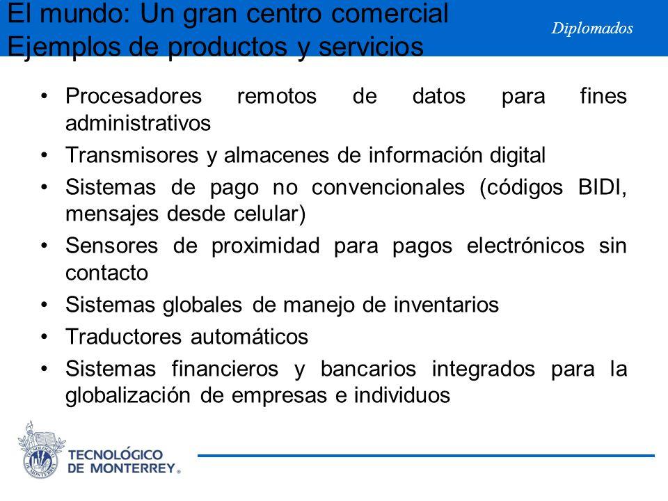 Diplomados El mundo: Un gran centro comercial Ejemplos de productos y servicios Procesadores remotos de datos para fines administrativos Transmisores