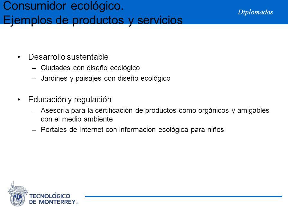 Diplomados Desarrollo sustentable –Ciudades con diseño ecológico –Jardines y paisajes con diseño ecológico Educación y regulación –Asesoría para la ce