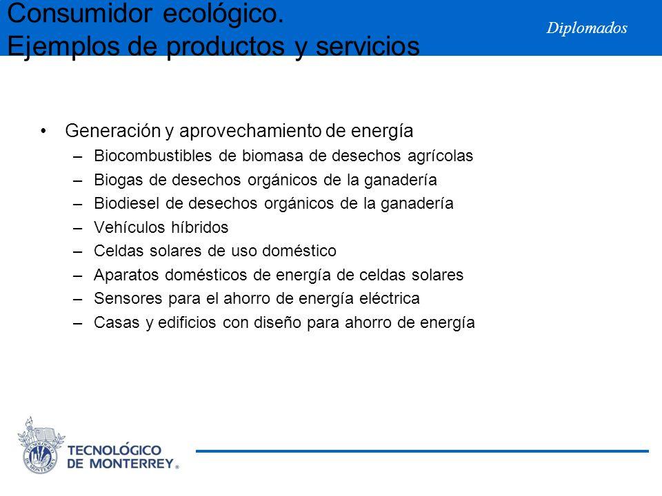 Diplomados Generación y aprovechamiento de energía –Biocombustibles de biomasa de desechos agrícolas –Biogas de desechos orgánicos de la ganadería –Bi