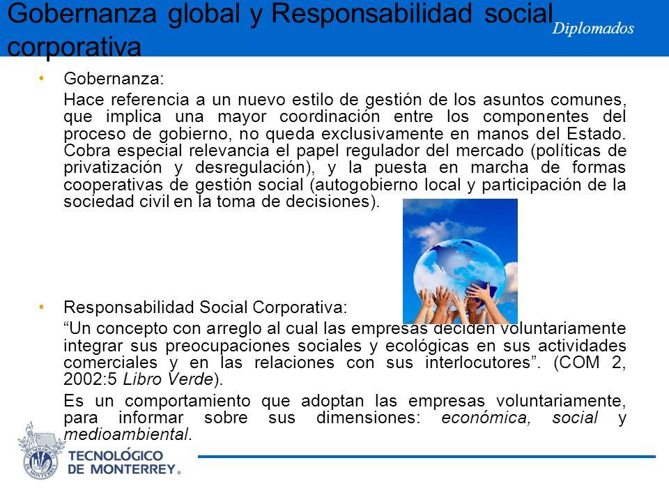 Diplomados Gobernanza global y Responsabilidad social corporativa Gobernanza: Hace referencia a un nuevo estilo de gestión de los asuntos comunes, que