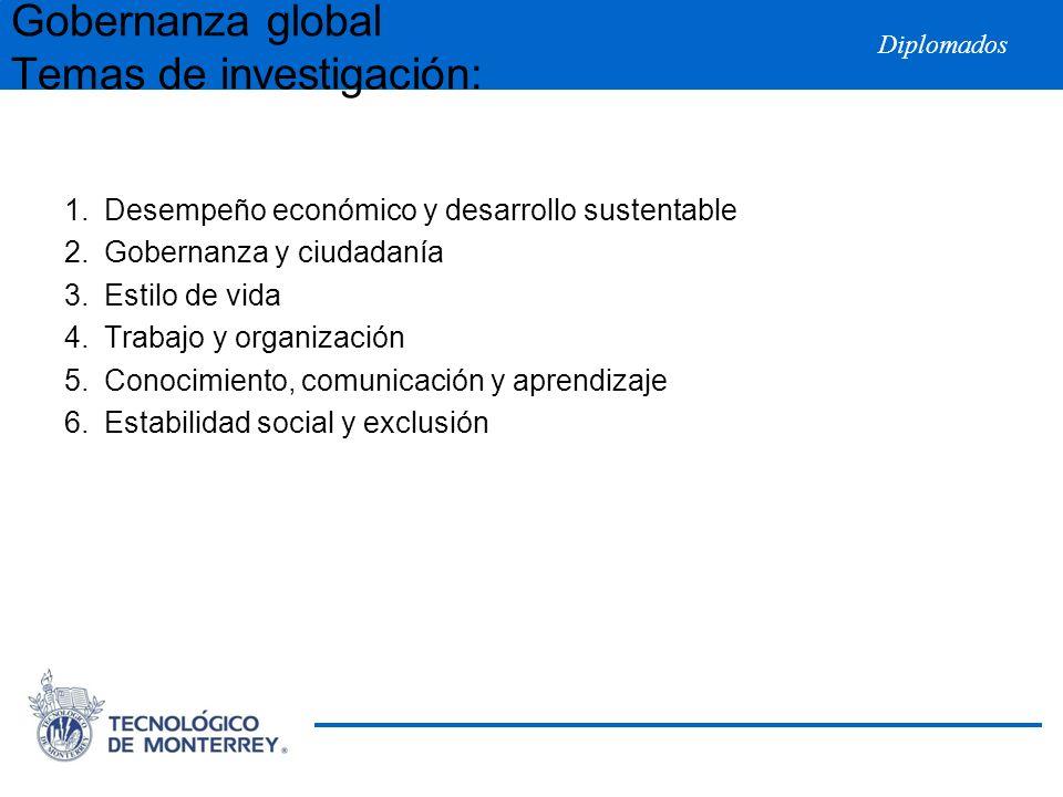 Diplomados 1.Desempeño económico y desarrollo sustentable 2.Gobernanza y ciudadanía 3.Estilo de vida 4.Trabajo y organización 5.Conocimiento, comunica