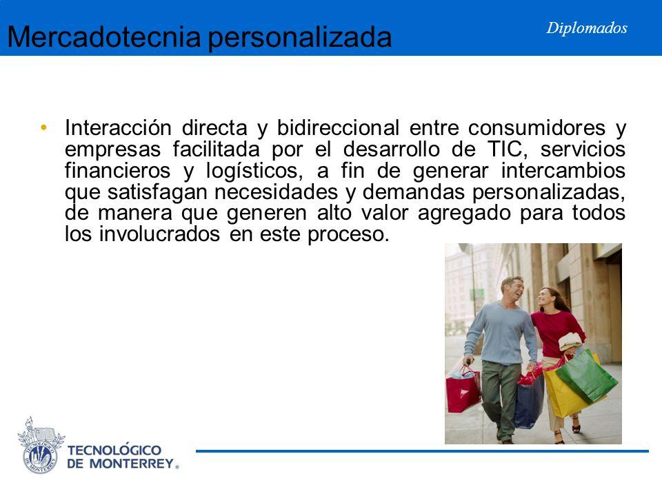 Diplomados Mercadotecnia personalizada Interacción directa y bidireccional entre consumidores y empresas facilitada por el desarrollo de TIC, servicio