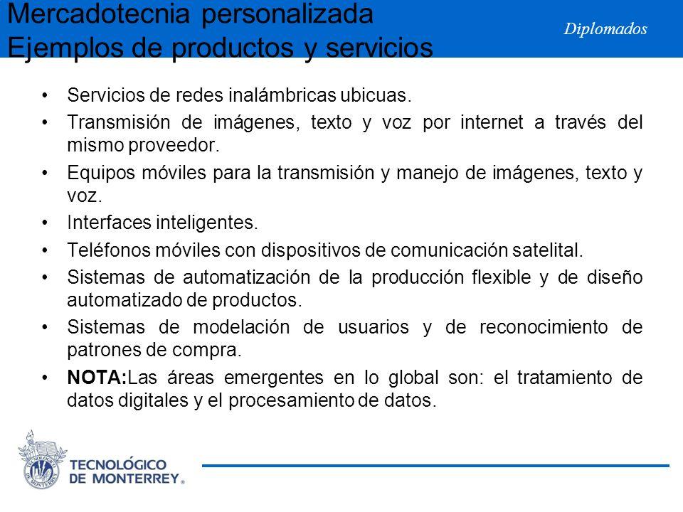 Diplomados Mercadotecnia personalizada Ejemplos de productos y servicios Servicios de redes inalámbricas ubicuas. Transmisión de imágenes, texto y voz
