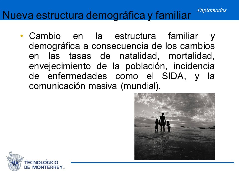 Diplomados Nueva estructura demográfica y familiar Cambio en la estructura familiar y demográfica a consecuencia de los cambios en las tasas de natali