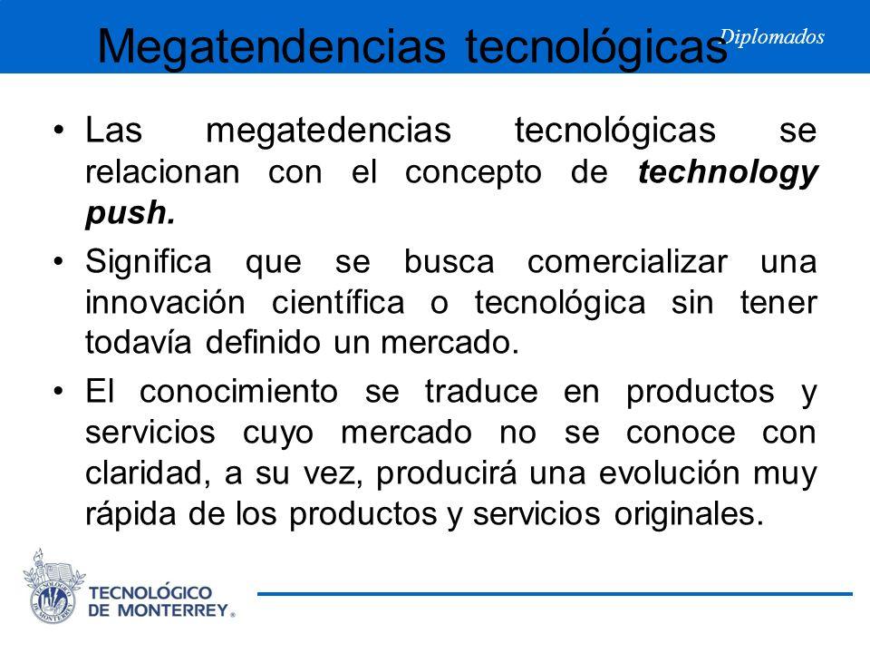 Diplomados Megatendencias tecnológicas Las megatedencias tecnológicas se relacionan con el concepto de technology push. Significa que se busca comerci