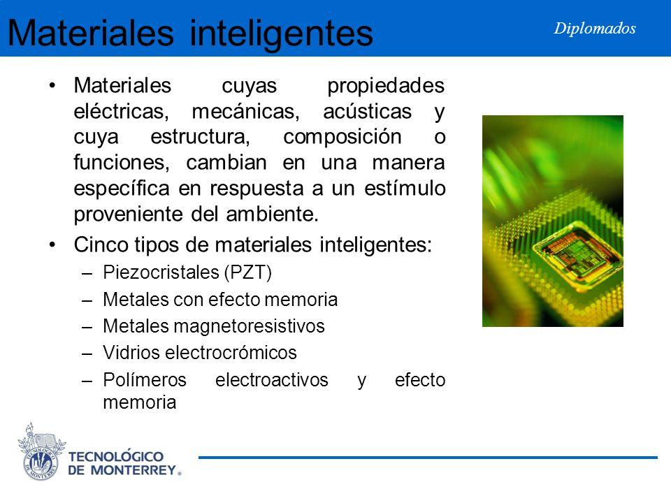 Diplomados Materiales inteligentes Materiales cuyas propiedades eléctricas, mecánicas, acústicas y cuya estructura, composición o funciones, cambian e