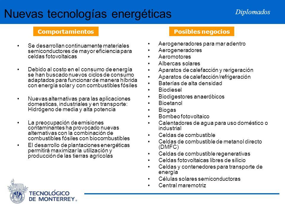 Diplomados Nuevas tecnologías energéticas Se desarrollan continuamente materiales semiconductores de mayor eficiencia para celdas fotovoltaicas Debido