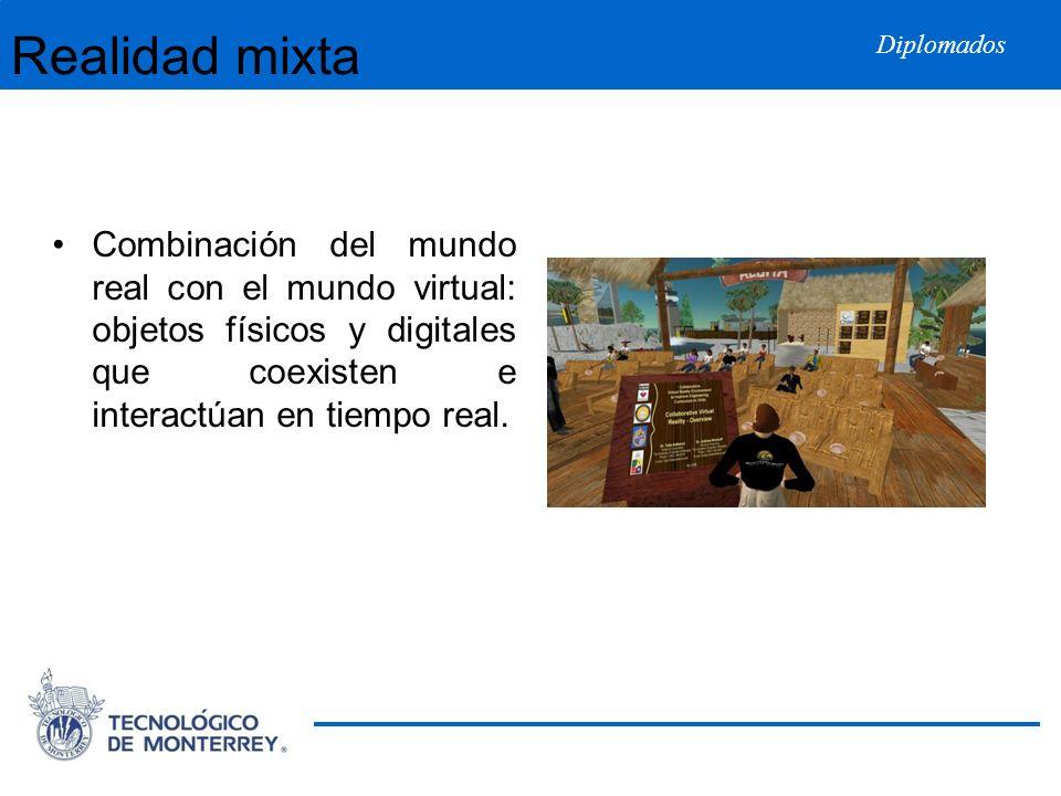 Diplomados Realidad mixta Combinación del mundo real con el mundo virtual: objetos físicos y digitales que coexisten e interactúan en tiempo real.