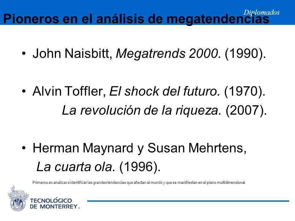 Diplomados Pioneros en el análisis de megatendencias John Naisbitt, Megatrends 2000. (1990). Alvin Toffler, El shock del futuro. (1970). La revolución