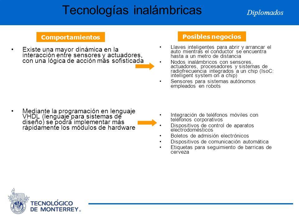 Diplomados Tecnologías inalámbricas Existe una mayor dinámica en la interacción entre sensores y actuadores, con una lógica de acción más sofisticada