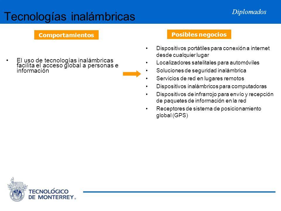 Diplomados Tecnologías inalámbricas El uso de tecnologías inalámbricas facilita el acceso global a personas e información Dispositivos portátiles para