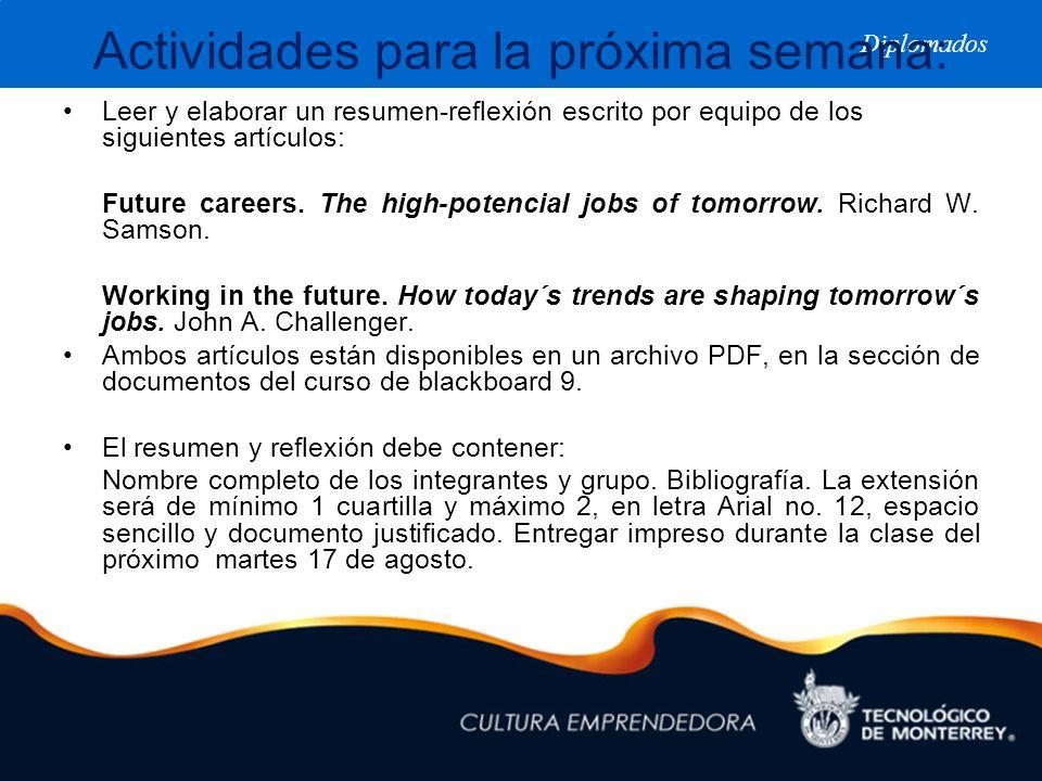 Diplomados Actividades para la próxima semana: Leer y elaborar un resumen-reflexión escrito por equipo de los siguientes artículos: Future careers. Th