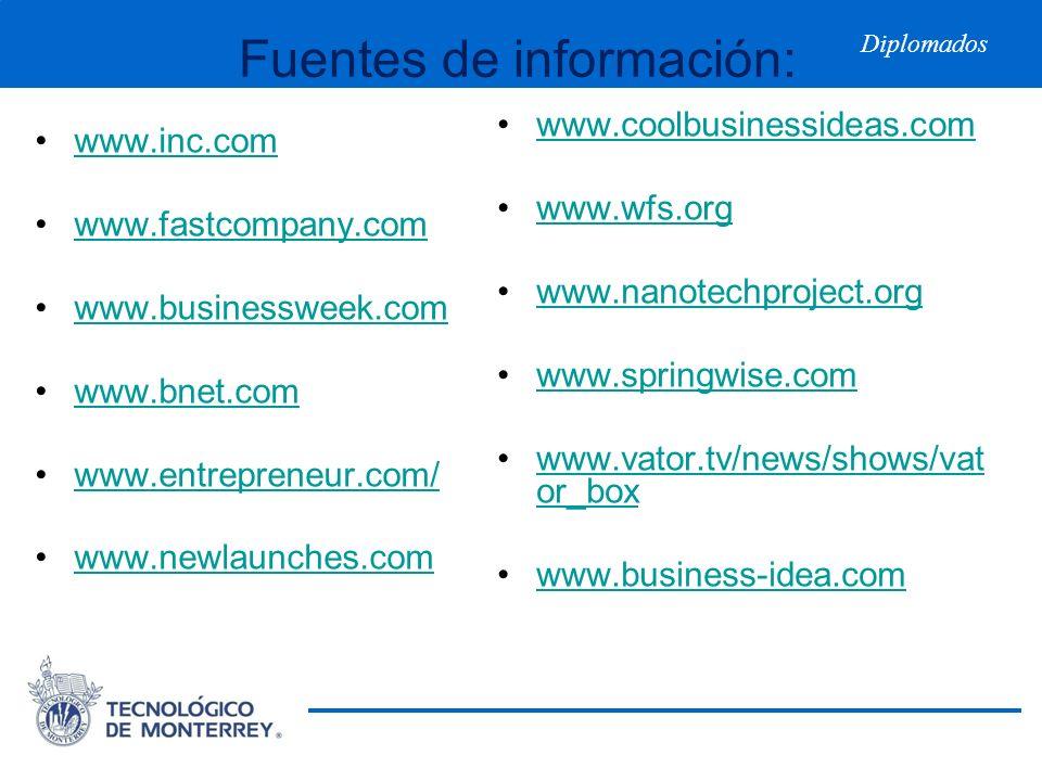 Diplomados Fuentes de información: www.inc.com www.fastcompany.com www.businessweek.com www.bnet.com www.entrepreneur.com/ www.newlaunches.com www.coo