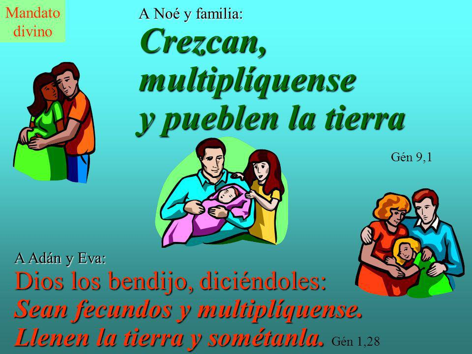 A Noé y familia: Crezcan, multiplíquense y pueblen la tierra A Noé y familia: Crezcan, multiplíquense y pueblen la tierra Gén 9,1 A Adán y Eva: Dios los bendijo, diciéndoles: Sean fecundos y multiplíquense.