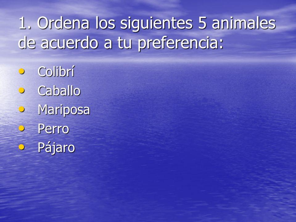 1. Ordena los siguientes 5 animales de acuerdo a tu preferencia: Colibrí Colibrí Caballo Caballo Mariposa Mariposa Perro Perro Pájaro Pájaro