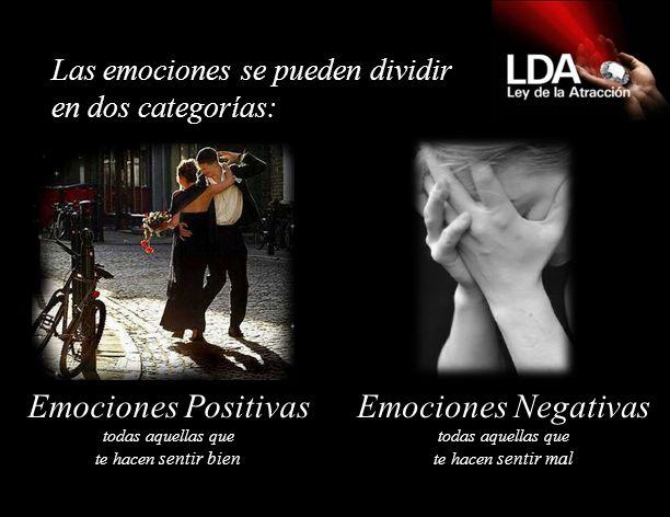 Emociones Positivas todas aquellas que te hacen sentir bien Emociones Negativas todas aquellas que te hacen sentir mal Las emociones se pueden dividir