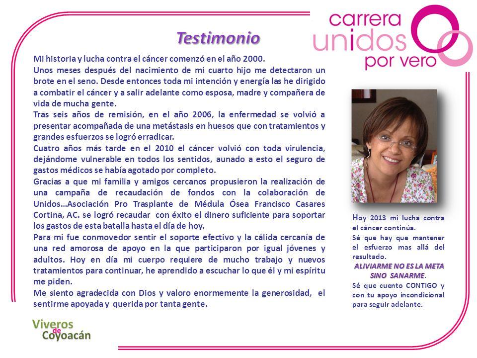 Mi historia y lucha contra el cáncer comenzó en el año 2000.