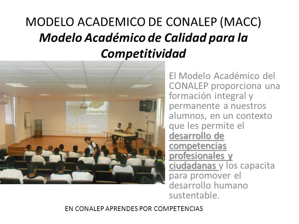 MODELO ACADEMICO DE CONALEP (MACC) Modelo Académico de Calidad para la Competitividad desarrollo de competencias profesionales y ciudadanas El Modelo