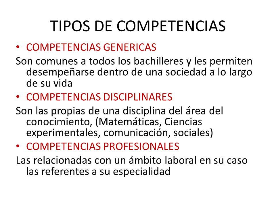 TIPOS DE COMPETENCIAS COMPETENCIAS GENERICAS Son comunes a todos los bachilleres y les permiten desempeñarse dentro de una sociedad a lo largo de su v