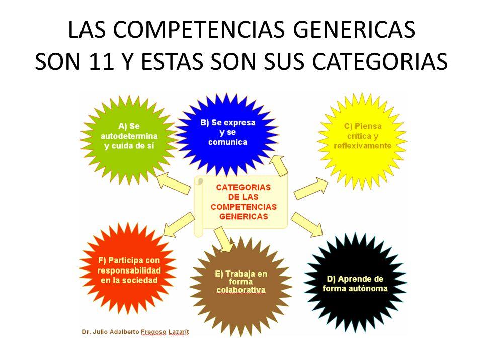 LAS COMPETENCIAS GENERICAS SON 11 Y ESTAS SON SUS CATEGORIAS