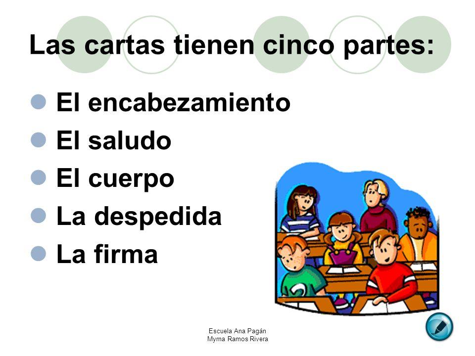 Las cartas tienen cinco partes: El encabezamiento El saludo El cuerpo La despedida La firma Escuela Ana Pagán Myrna Ramos Rivera