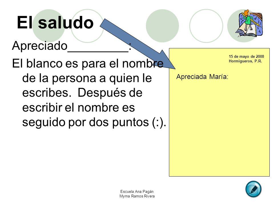 El saludo Apreciado_________: El blanco es para el nombre de la persona a quien le escribes. Después de escribir el nombre es seguido por dos puntos (