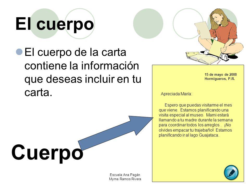 El cuerpo El cuerpo de la carta contiene la información que deseas incluir en tu carta. 15 de mayo de 2008 Hormigueros, P.R. Cuerpo Apreciada María: E
