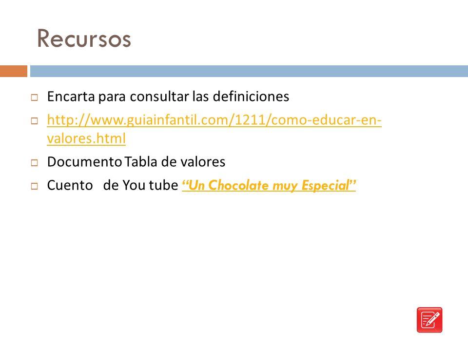 Recursos Encarta para consultar las definiciones http://www.guiainfantil.com/1211/como-educar-en- valores.html http://www.guiainfantil.com/1211/como-e