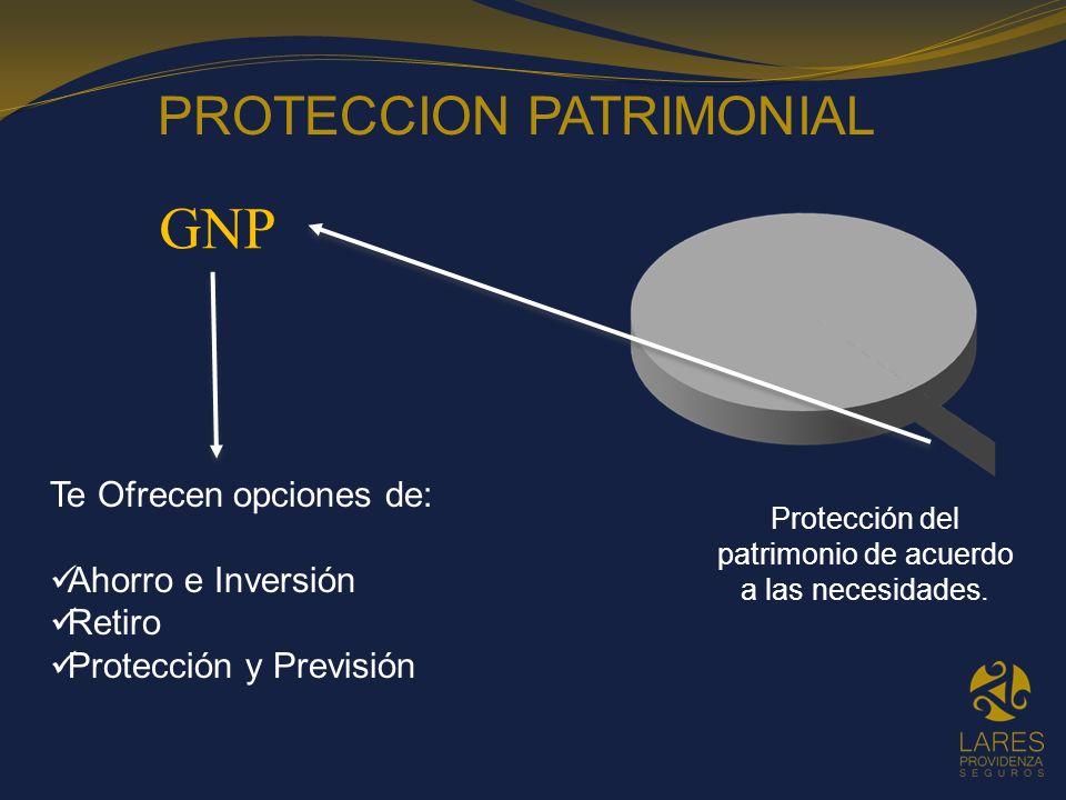 GNP Te Ofrecen opciones de: Ahorro e Inversión Retiro Protección y Previsión PROTECCION PATRIMONIAL Protección del patrimonio de acuerdo a las necesid