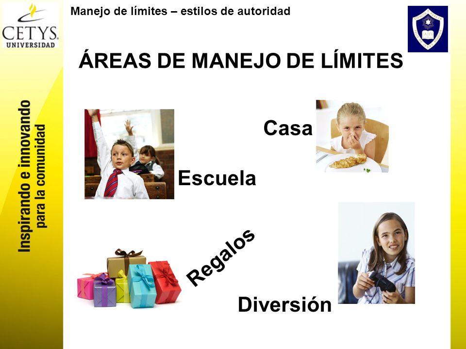 Manejo de límites – estilos de autoridad ÁREAS DE MANEJO DE LÍMITES Escuela Diversión Casa Regalos