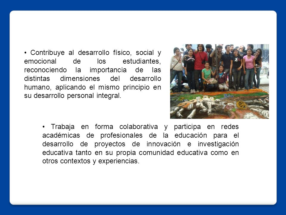 Trabaja en forma colaborativa y participa en redes académicas de profesionales de la educación para el desarrollo de proyectos de innovación e investigación educativa tanto en su propia comunidad educativa como en otros contextos y experiencias.