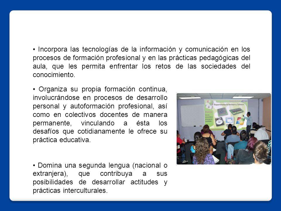 Incorpora las tecnologías de la información y comunicación en los procesos de formación profesional y en las prácticas pedagógicas del aula, que les permita enfrentar los retos de las sociedades del conocimiento.