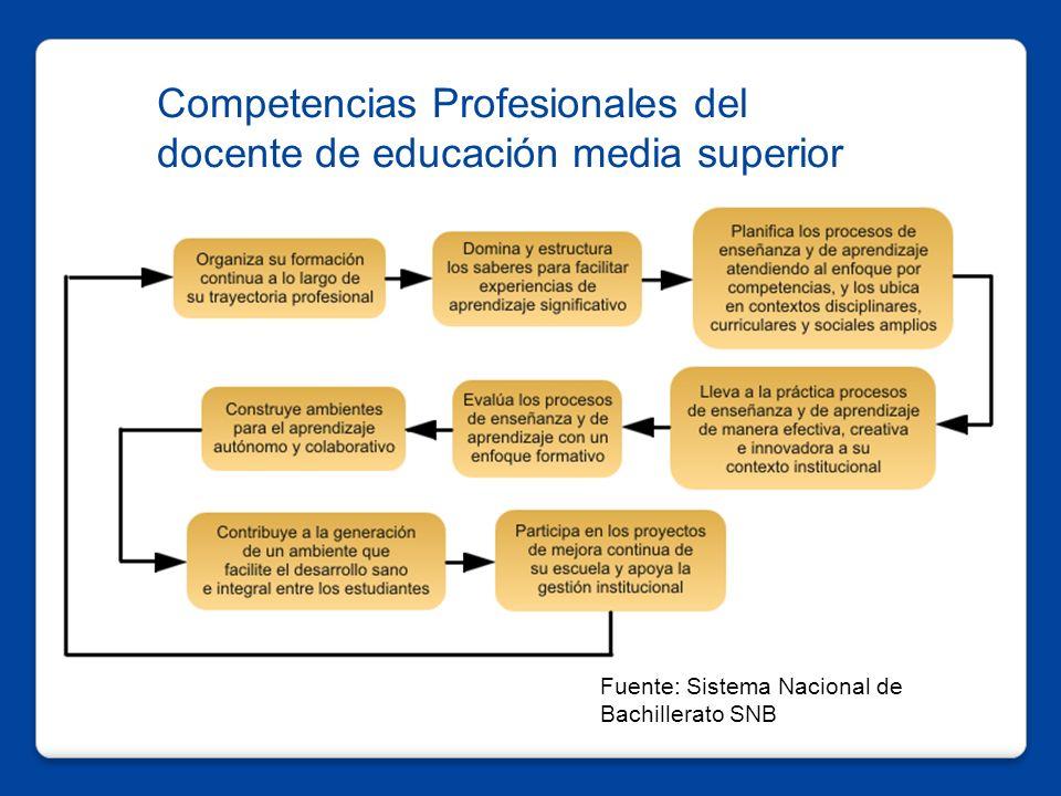 Competencias Profesionales del docente de educación media superior Fuente: Sistema Nacional de Bachillerato SNB