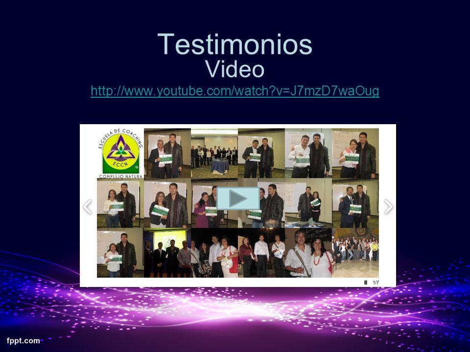 Testimonios Video http://www.youtube.com/watch?v=J7mzD7waOug