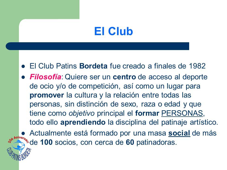 El Club El Club Patins Bordeta fue creado a finales de 1982 Filosofía: Quiere ser un centro de acceso al deporte de ocio y/o de competición, así como