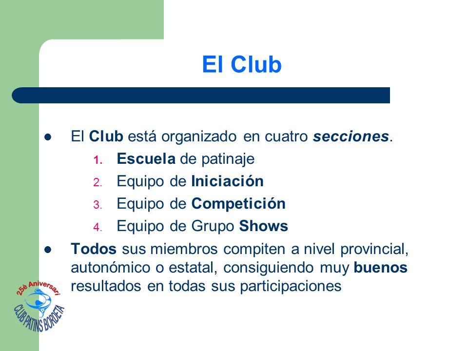 El Club El Club está organizado en cuatro secciones. 1. Escuela de patinaje 2. Equipo de Iniciación 3. Equipo de Competición 4. Equipo de Grupo Shows
