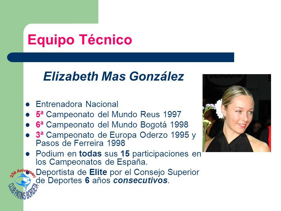 Equipo Técnico Elizabeth Mas González Entrenadora Nacional 5ª Campeonato del Mundo Reus 1997 6ª Campeonato del Mundo Bogotá 1998 3ª Campeonato de Euro