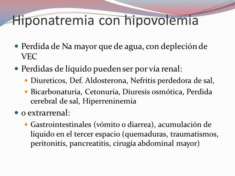 Hiponatremia con hipovolemia Perdida de Na mayor que de agua, con depleción de VEC Perdidas de líquido pueden ser por vía renal: Diureticos, Def. Aldo