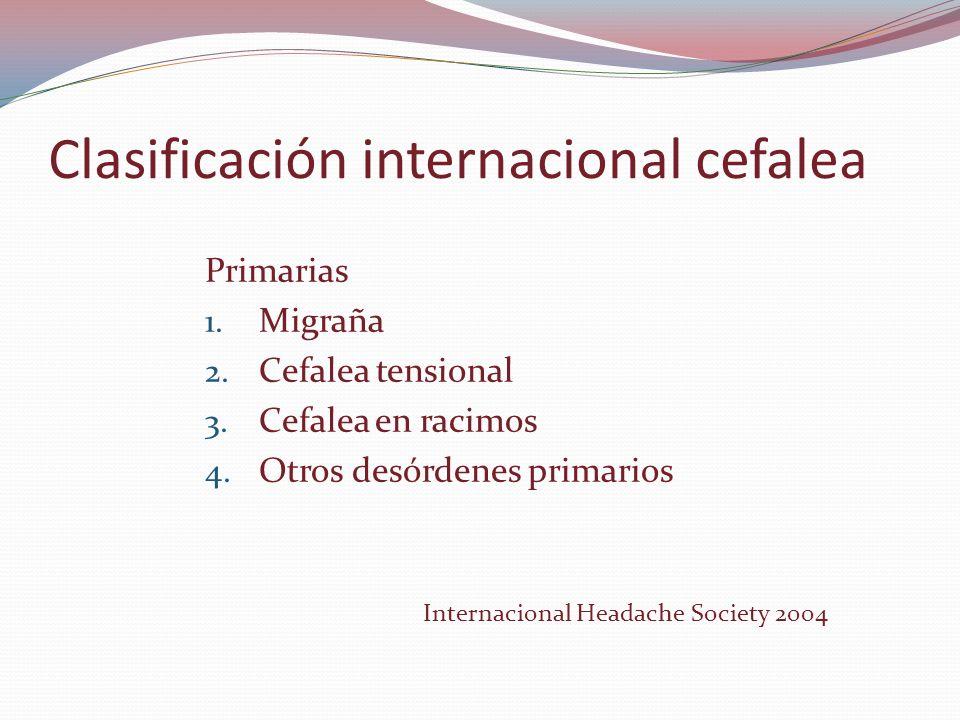 Clasificación internacional cefalea Primarias 1. Migraña 2. Cefalea tensional 3. Cefalea en racimos 4. Otros desórdenes primarios Internacional Headac
