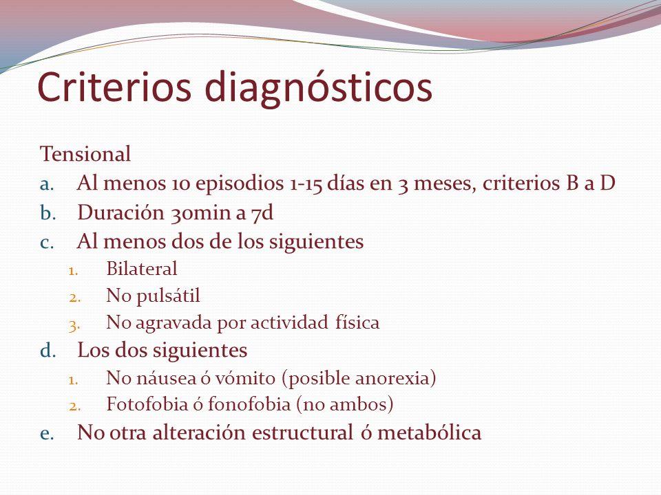 Criterios diagnósticos Tensional a. Al menos 10 episodios 1-15 días en 3 meses, criterios B a D b. Duración 30min a 7d c. Al menos dos de los siguient