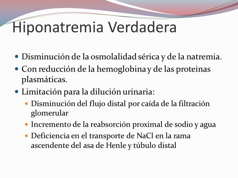 Hiponatremia Verdadera Disminución de la osmolalidad sérica y de la natremia. Con reducción de la hemoglobina y de las proteinas plasmáticas. Limitaci