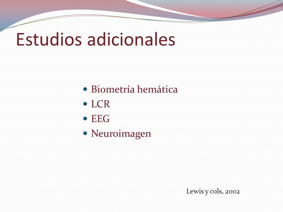 Estudios adicionales Biometría hemática LCR EEG Neuroimagen Lewis y cols, 2002