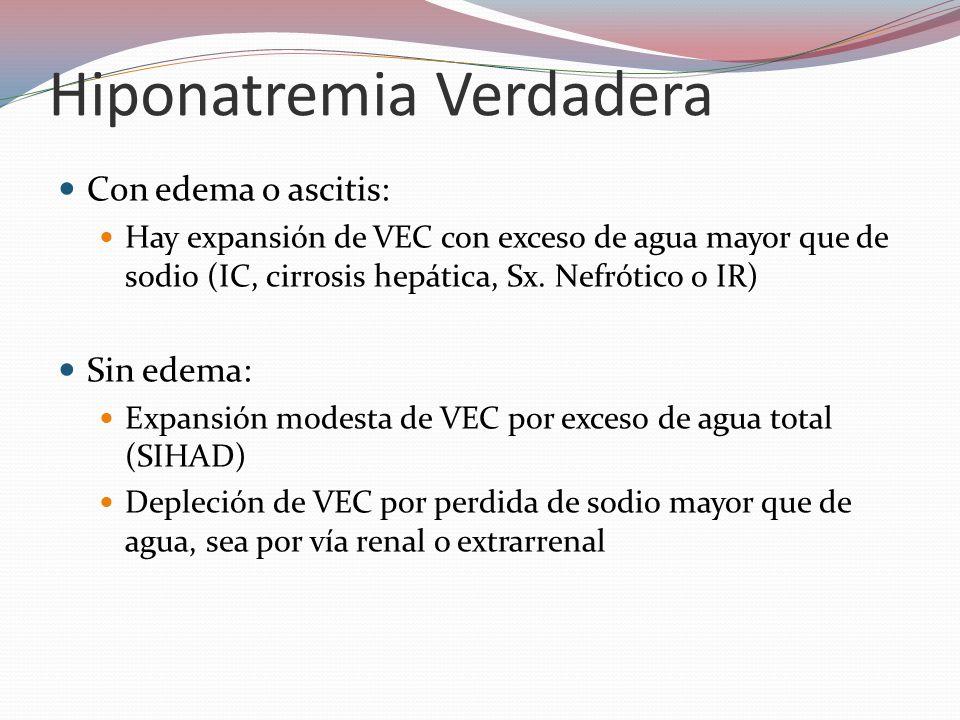 Hiponatremia Verdadera Con edema o ascitis: Hay expansión de VEC con exceso de agua mayor que de sodio (IC, cirrosis hepática, Sx. Nefrótico o IR) Sin