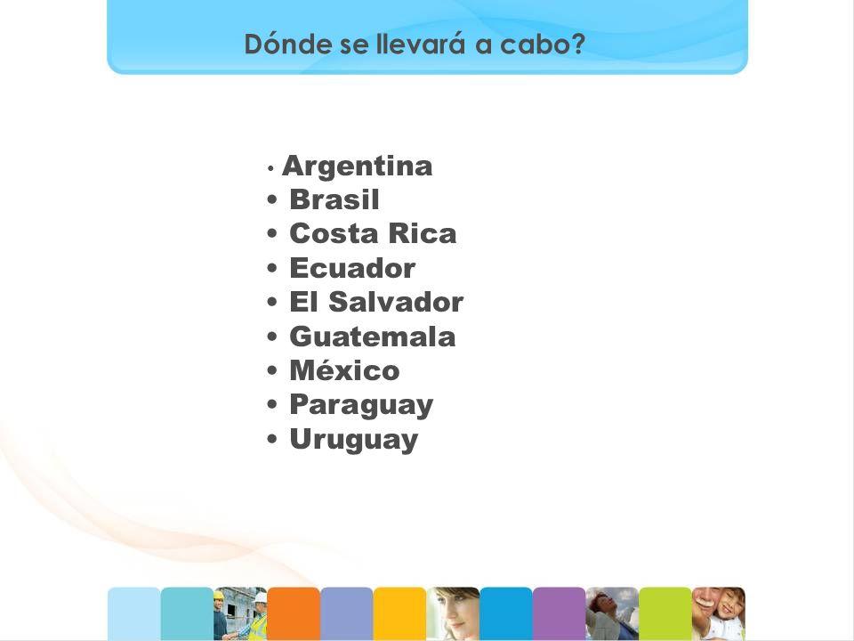 Dónde se llevará a cabo? Argentina Brasil Costa Rica Ecuador El Salvador Guatemala México Paraguay Uruguay