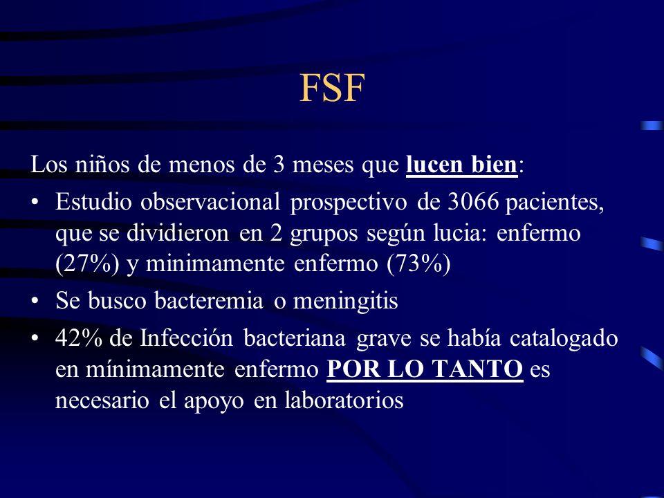 FSF Los niños de menos de 3 meses que lucen bien: Estudio observacional prospectivo de 3066 pacientes, que se dividieron en 2 grupos según lucia: enfe