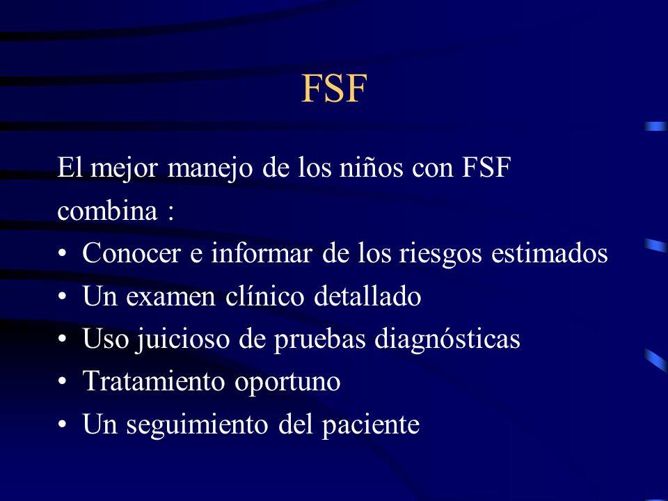 FSF El mejor manejo de los niños con FSF combina : Conocer e informar de los riesgos estimados Un examen clínico detallado Uso juicioso de pruebas dia