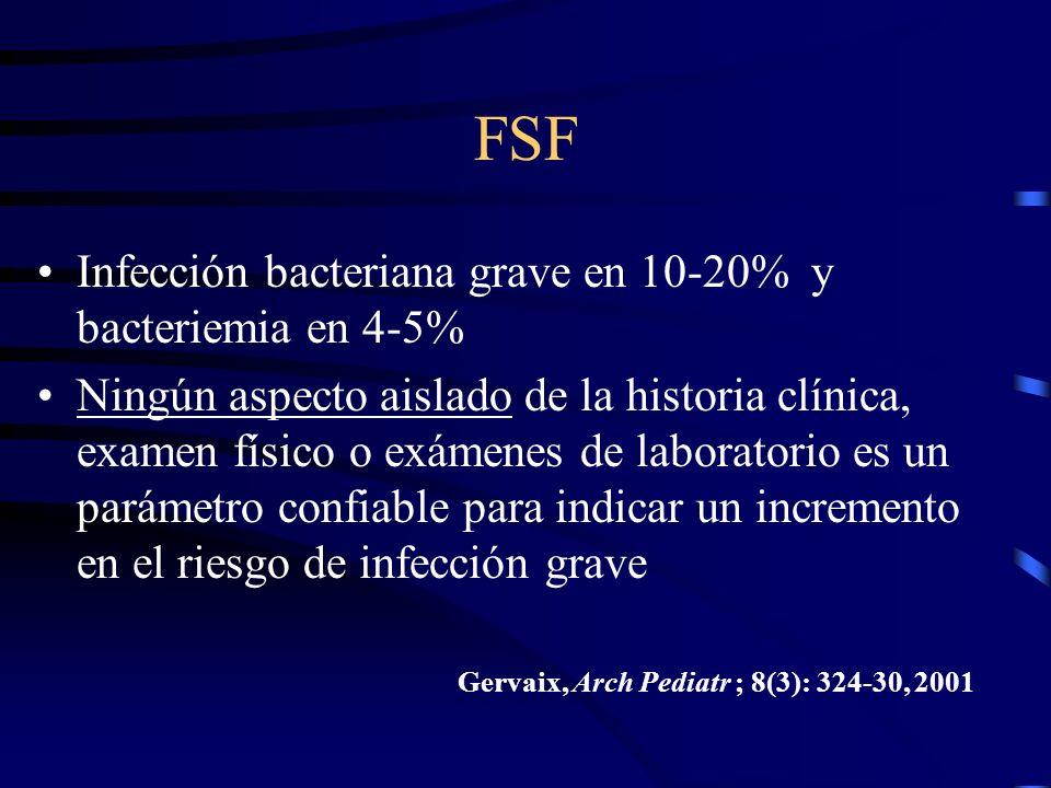 FSF Infección bacteriana grave en 10-20% y bacteriemia en 4-5% Ningún aspecto aislado de la historia clínica, examen físico o exámenes de laboratorio