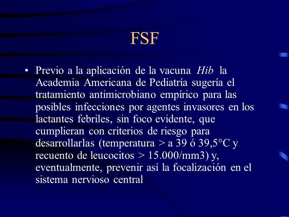FSF Previo a la aplicación de la vacuna Hib la Academia Americana de Pediatría sugería el tratamiento antimicrobiano empírico para las posibles infecc
