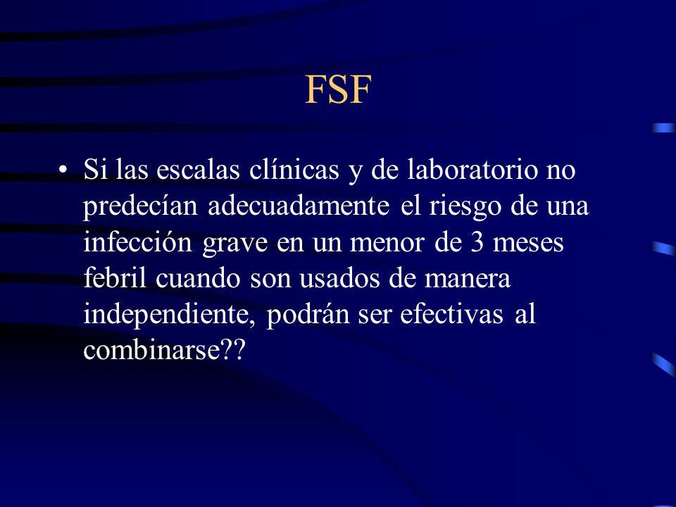 FSF Si las escalas clínicas y de laboratorio no predecían adecuadamente el riesgo de una infección grave en un menor de 3 meses febril cuando son usad
