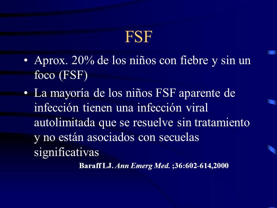FSF Aprox. 20% de los niños con fiebre y sin un foco (FSF) La mayoría de los niños FSF aparente de infección tienen una infección viral autolimitada q